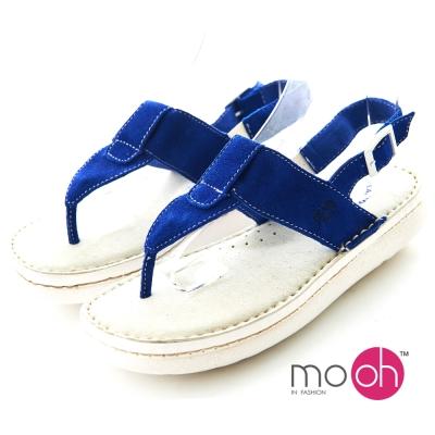mo.oh-全真皮麂皮足弓舒適氣墊夾腳涼鞋-寶藍