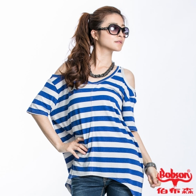 BOBSON 女款裸肩條紋短袖上衣 藍23090~54