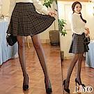 裙子格子傘狀A字防走光顯瘦質感鬆緊裙LIYO理優 S-XL