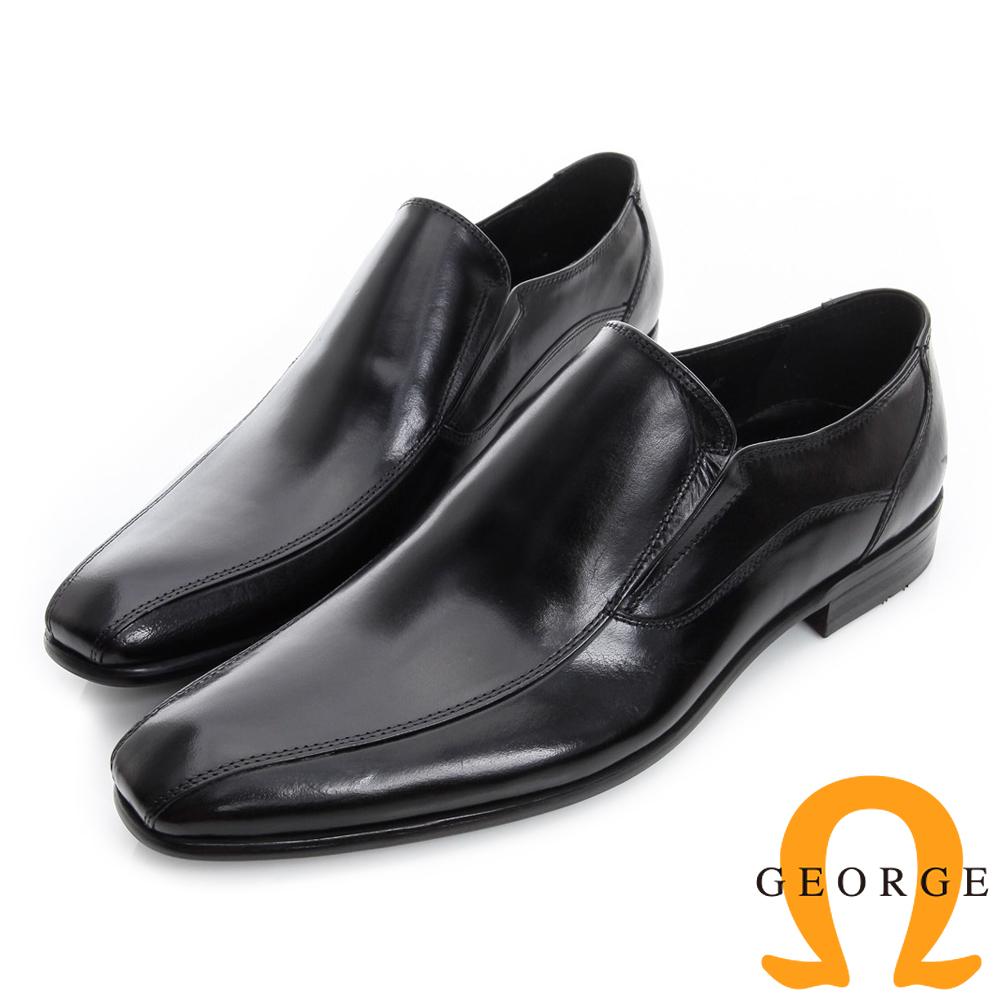 GEORGE 喬治-經典素面真皮小方頭紳士鞋-黑色