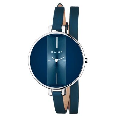 ELIXA Finesse系列銀框  星辰藍錶盤/星辰藍皮革纏繞式錶帶38mm