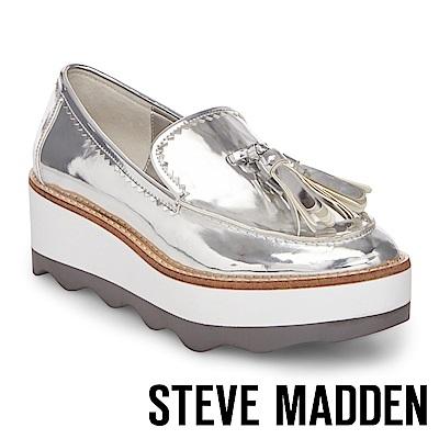 STEVE MADDEN-TREAD 流蘇厚底鞋-銀色