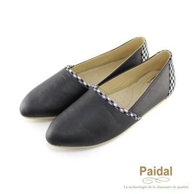 Paidal-格紋滾邊皮感尖頭舒適樂福鞋-黑