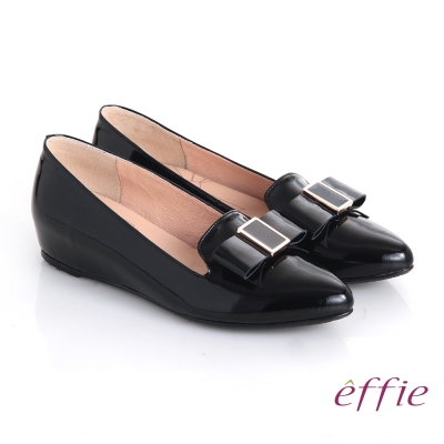 effie 輕透美型 真皮蝴蝶結飾尖楦內增高平底鞋 黑色