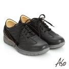 A.S.O 紓壓耐走 簡約牛皮縫線拼接奈米休閒鞋 黑色