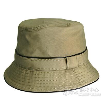 COACH新款軍綠色素面真皮飾邊漁夫帽/遮陽帽