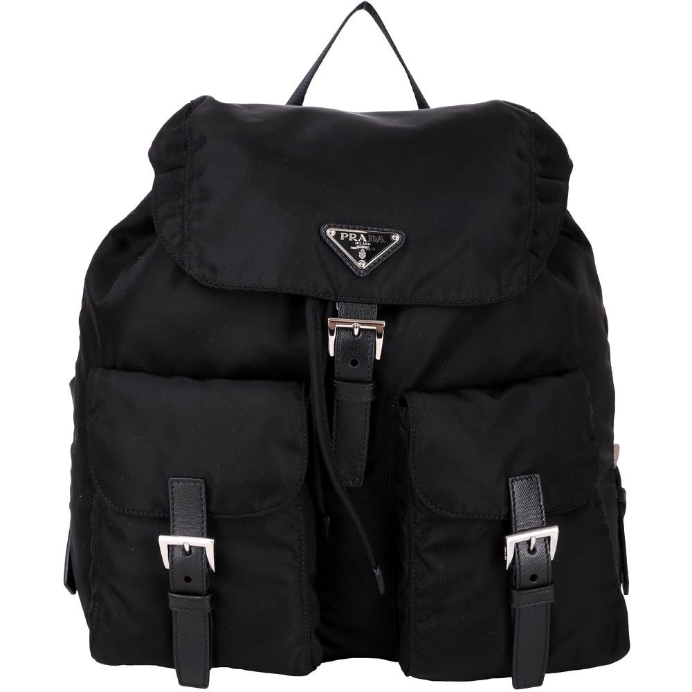PRADA 口袋設計尼龍後背包(大/黑色)