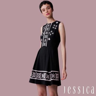 JESSICA-歐美復古圓領刺繡無袖洋裝(黑)