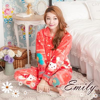 睡衣 歡樂派對法蘭絨兩件式褲裝睡衣 Emily Sweet