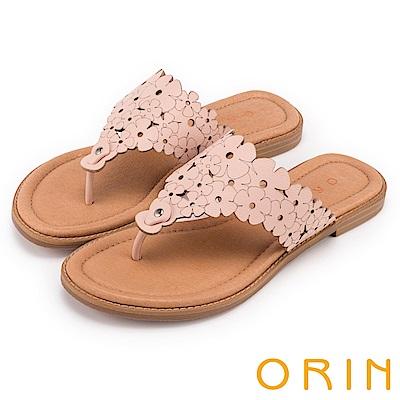 ORIN 夏日甜美氛圍 巖選牛皮花朵打洞夾腳拖鞋-粉紅