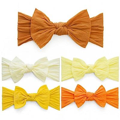 Baby Bling 橘黃色系大蝴蝶結寬版寶寶髮帶-五色任選