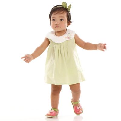 愛的世界 MYBABY 純棉蝶舞直條紋套裝/1~4歲