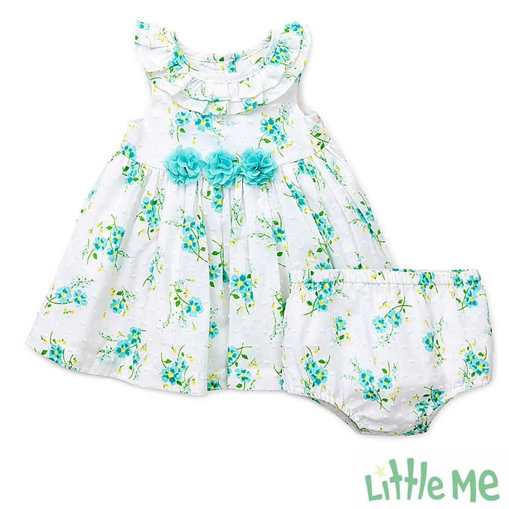 Little Me 湖水綠小雛菊洋裝 套裝兩件組