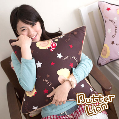 【奶油獅】正版授權 台灣製造-搖滾星星可拆洗方型抱枕-咖啡(一入)