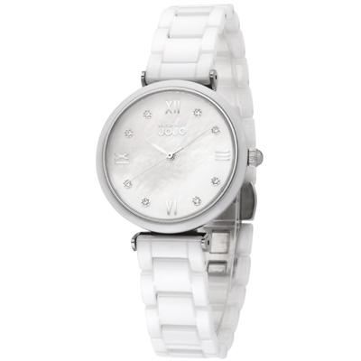 NATURALLY JOJO 純愛情意時尚陶瓷腕錶-珍珠母貝 白/33mm