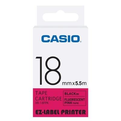 CASIO  標籤機專用特殊色帶-18mm(瑩光色材質)瑩光桃紅底黑字-XR-18FPK1