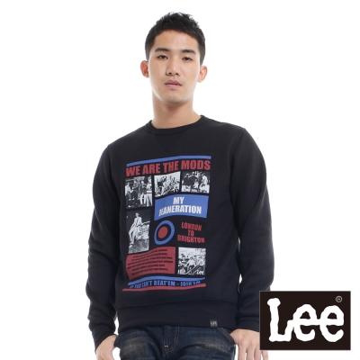 Lee-長袖T恤-照片圖案毛海內裡-男款-黑-LL120398K99