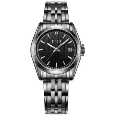 ELLE 知性簡約不鏽鋼女錶-黑/25mm