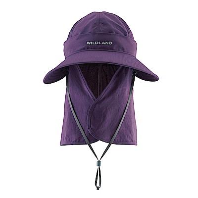 【Wildland 荒野】中性抗UV可脫式功能遮陽帽紫
