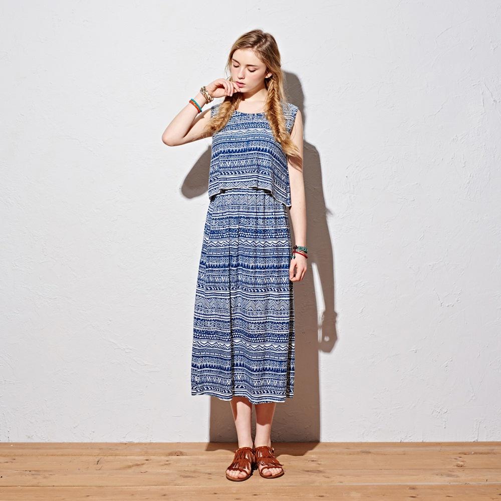 洋裝圖騰背心洋裝2色-CACO
