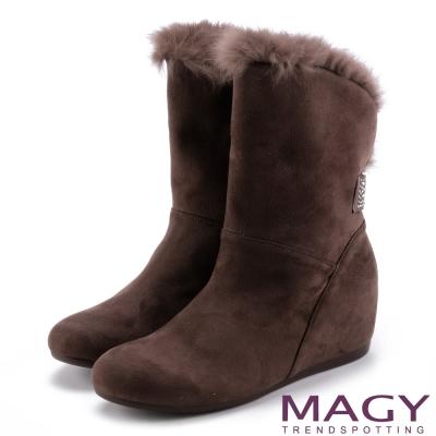 MAGY 柔軟暖呼呼 2WAY絨布內增高長毛內增高短靴-咖啡