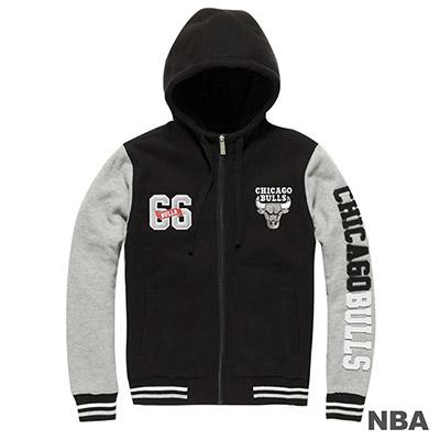 NBA-芝加哥公牛隊雙袖拼接繡字棒球外套-黑-女