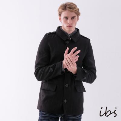 IBS 單排扣毛呢軍裝外套-黑色-男