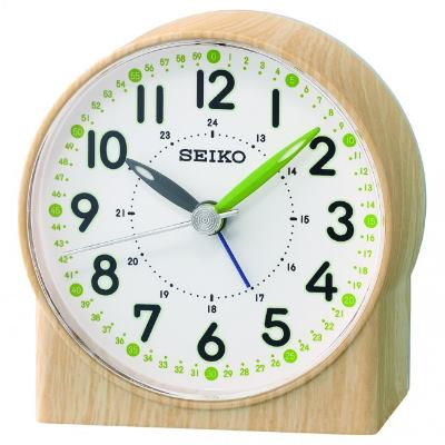 SEIKO 日本精工 滑動式秒針 靜音 鬧鐘(QHE168B)-卡其/8.2X7.8cm