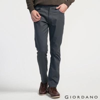 GIORDANO男裝素色彈力棉四層腰頭休閒褲-08 標志灰色