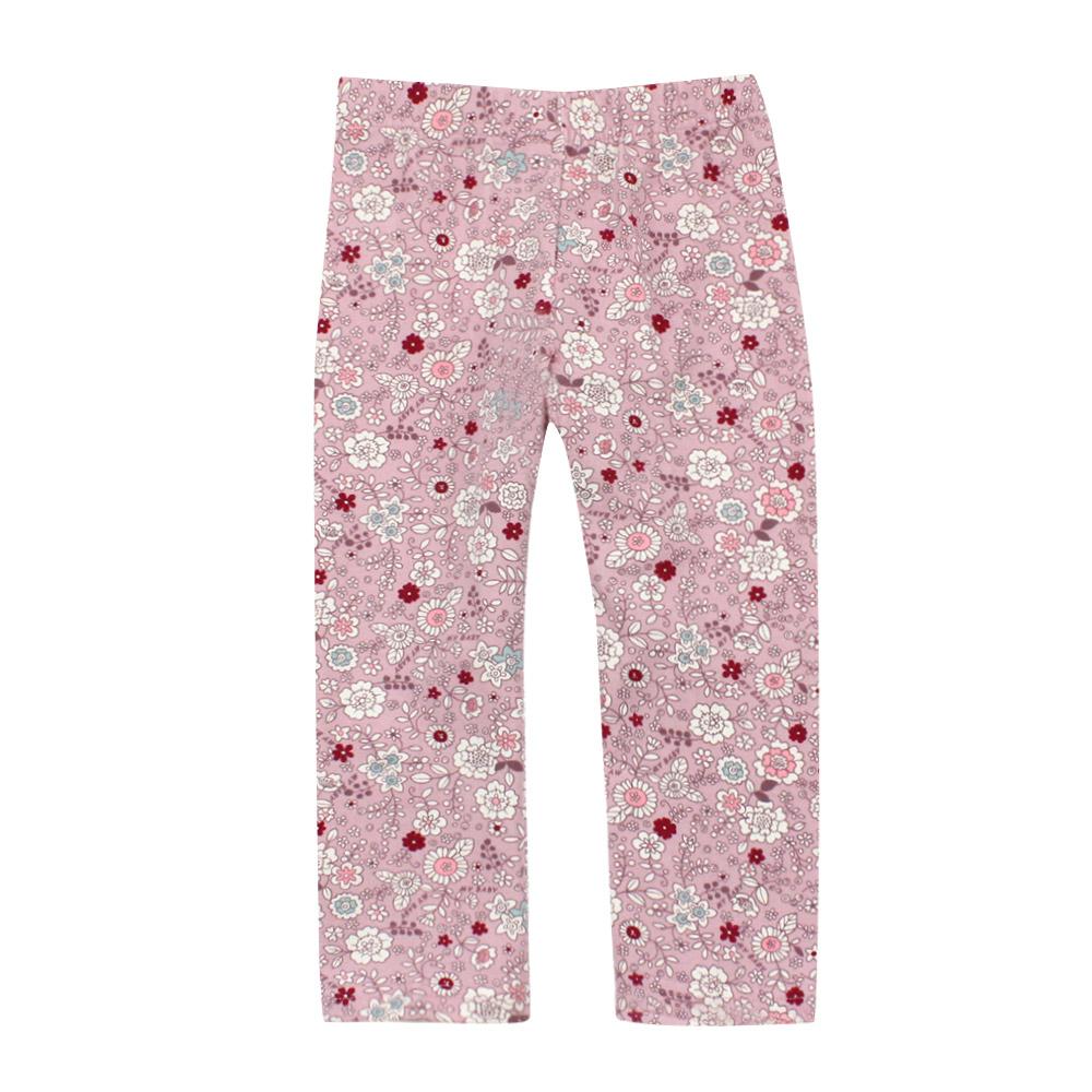 愛的世界 MYBABY 小兔花園彈性鬆緊帶緊身長褲 6歲