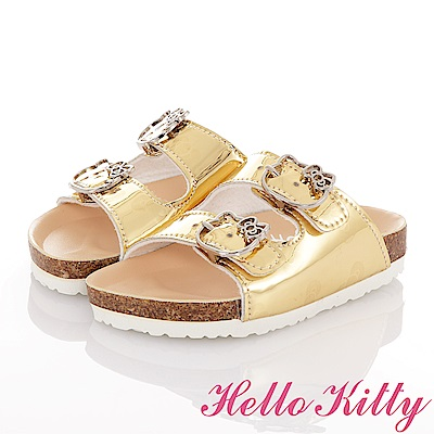 HelloKitty 俏麗閃亮輕便減壓吸震腳床型拖鞋童鞋-金