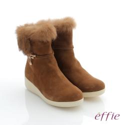 effie 循環暖靴 羊絨兔毛飾釦中筒靴 卡其色
