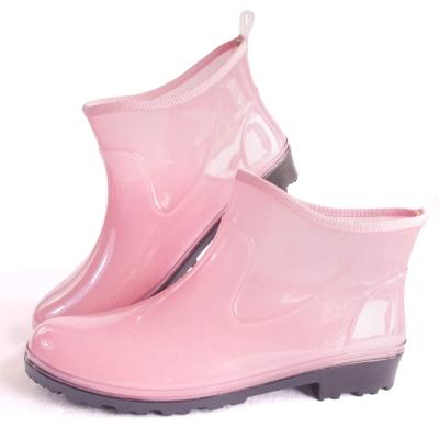 甜心粉紅一體成型減壓短筒雨鞋
