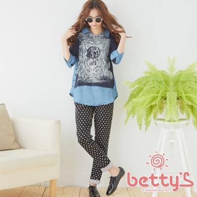 betty-s貝蒂思-波卡圓點彈性長褲-黑色