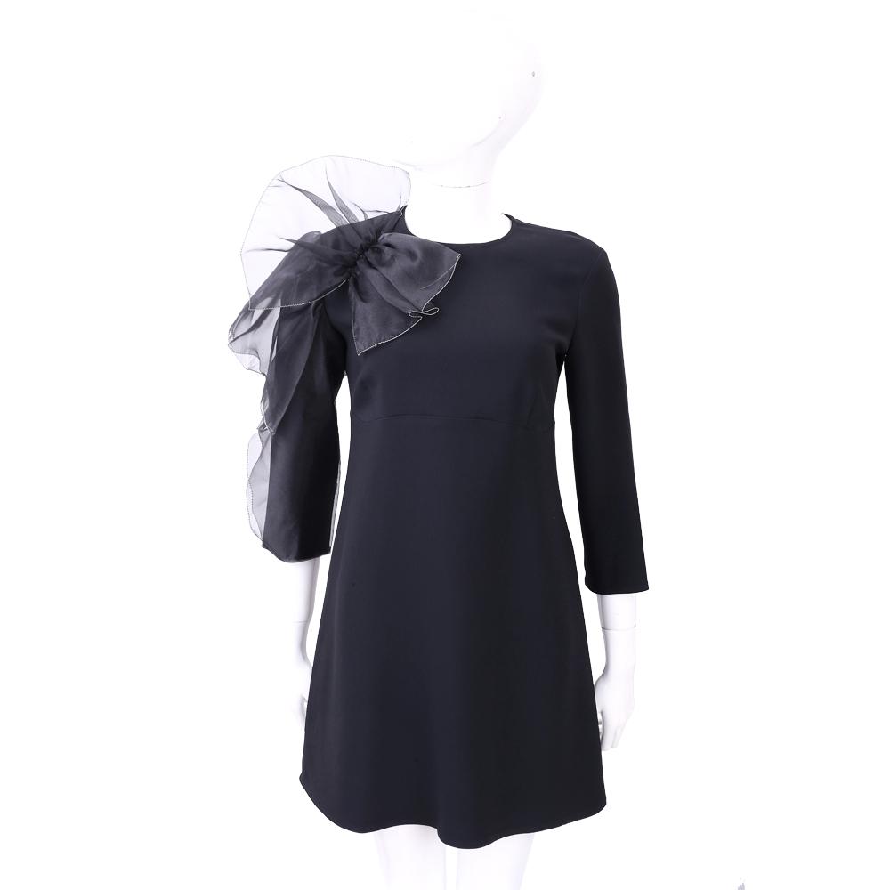 ELISABETTA FRANCHI 黑色拼接荷葉蝴蝶結造型長袖洋裝
