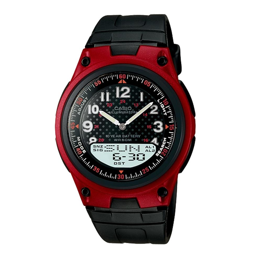 CASIO 城市都會時尚雙顯腕錶(AW-80-4B)-紅框/40mm