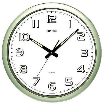 RHYTHM 日本麗聲 標準型 夜光 靜音恆動式秒針 掛鐘-綠/42cm