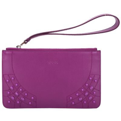 TOD'S 豆豆車縫皮革拉鍊手拿包(紫色)