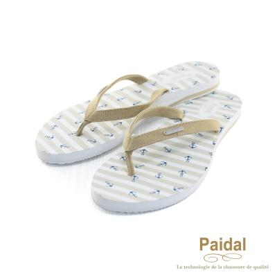 Paidal 海洋風小船錨帆布人字拖海灘拖鞋-卡其