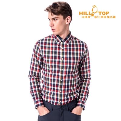 【hilltop山頂鳥】男款吸濕保暖長襯衫C05M20藍/紅格子