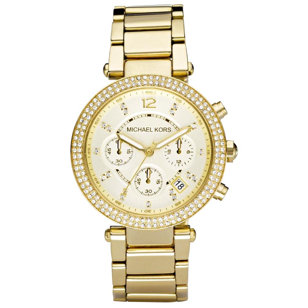 Michael Kors  璀璨迷漾晶鑽三眼都會腕錶(鋼帶-金/39mm)