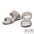 拖鞋 HELENE SPARK 鏤空雕花沖孔牛皮字帶厚底拖鞋-米