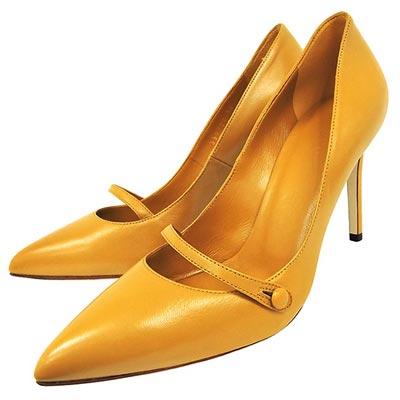 GUCCI 黃色真皮尖楦細跟高跟鞋【36號】