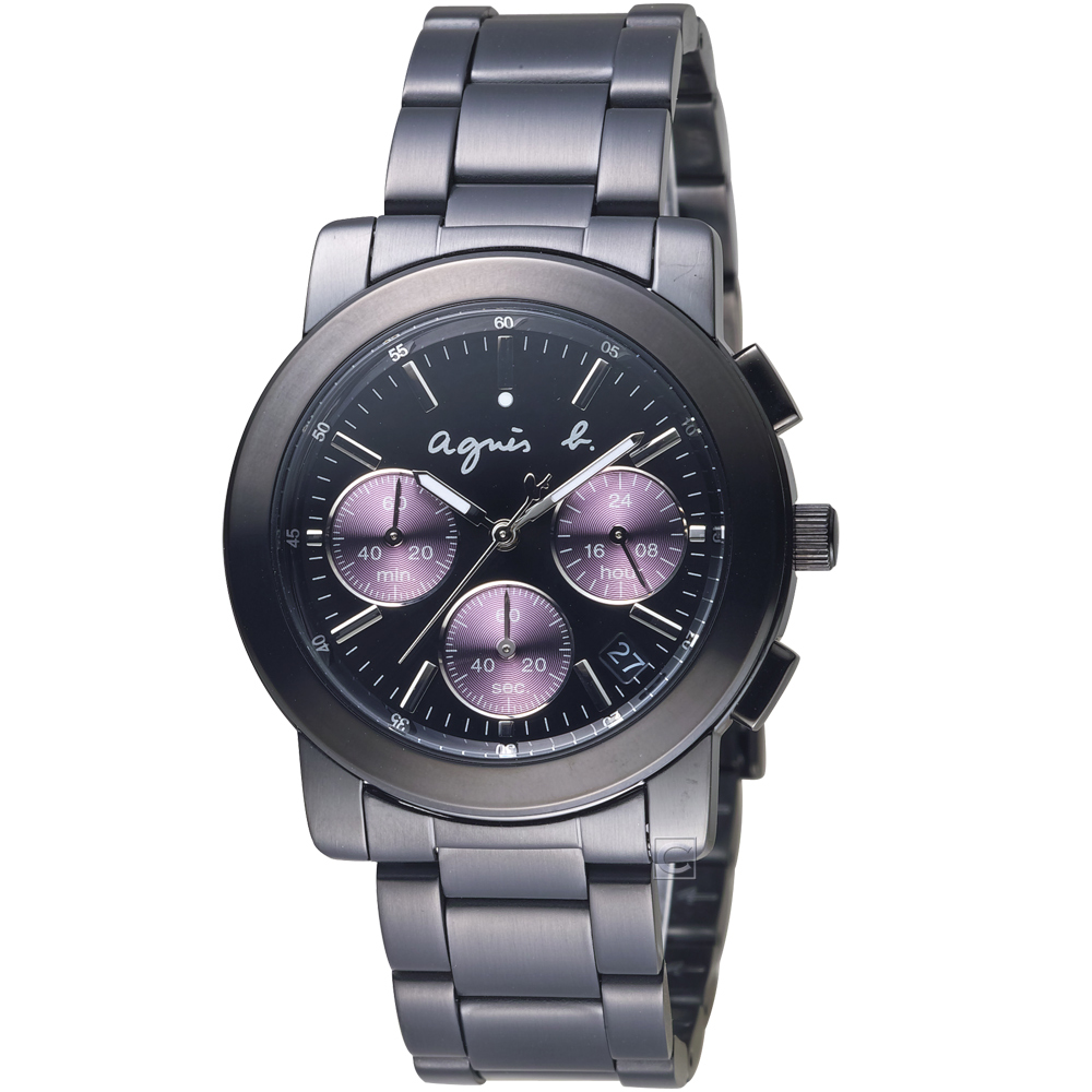 agnes b.都會迷幻時尚計時腕錶(VD53-KP30P)-38mm