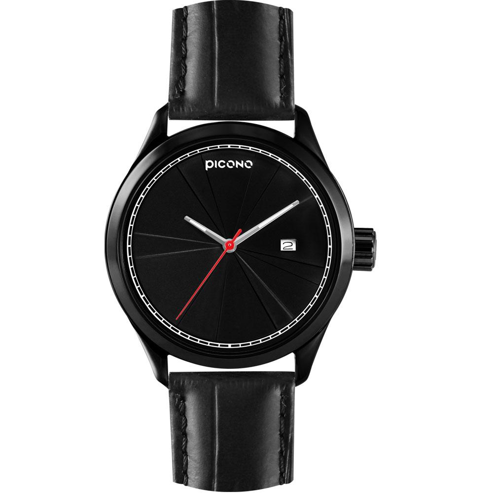 PICONO 層次系列 視覺品味時尚腕錶-IP黑/48mm
