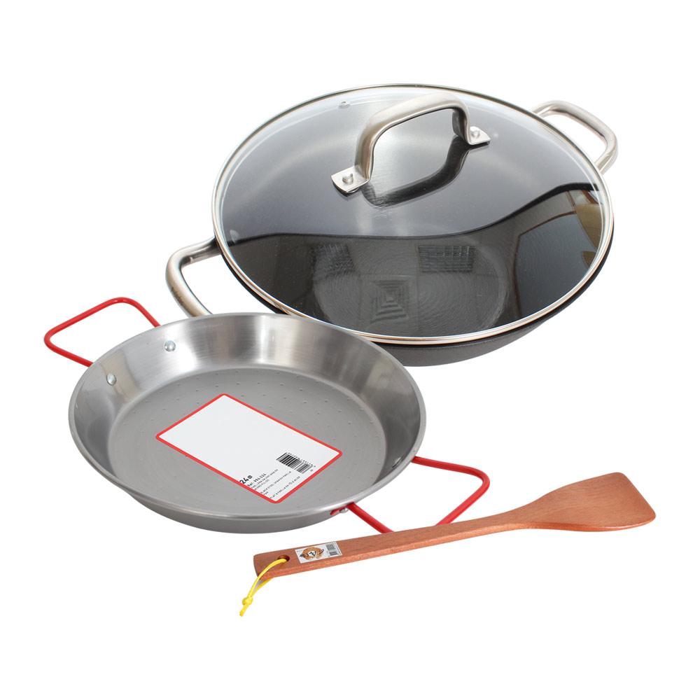 西班牙Pujadas1921輕鑄鐵深型燉鍋4件組(燉鍋30+鍋蓋+海鮮鍋24cm+木煎匙)