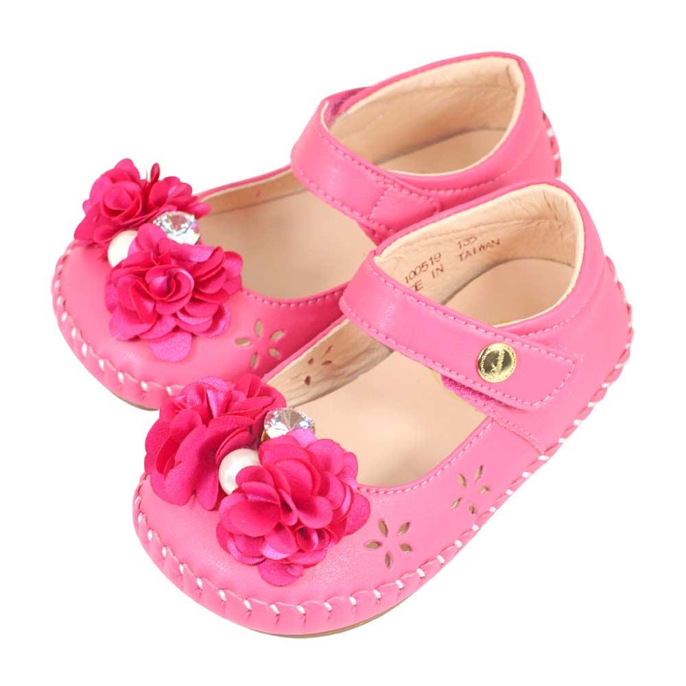 Swan天鵝童鞋-小薔薇花朵水鑽珍珠雕花學步鞋1519-桃