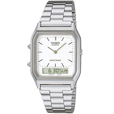 CASIO 銀色時尚復古雙顯指針錶(AQ-230A-7D-白
