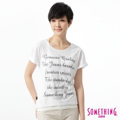 SOMETHING-立體印花T恤-女-白色