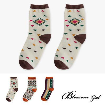 Blossom Gal 民族風幾何配色造型短襪2入組(共三款)